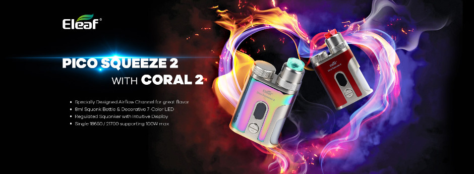Eleaf iStick Pico Squeeze 2 Squonk - Coral 2 RDA Set